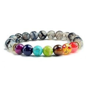 Jewelry - (5🌟)LAST 1) 7 Chakra Fire crackled Agate bracelet